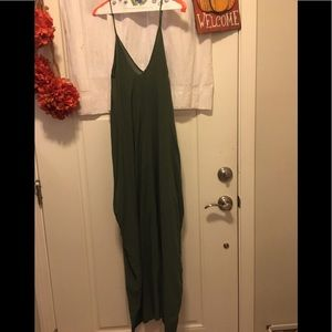Forest green v-neck dress.